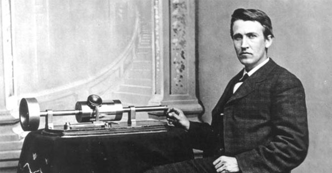 On November 21st, 1877, Thomas Edison announces his first great invention - the phonograph, a way to record and play back sound.